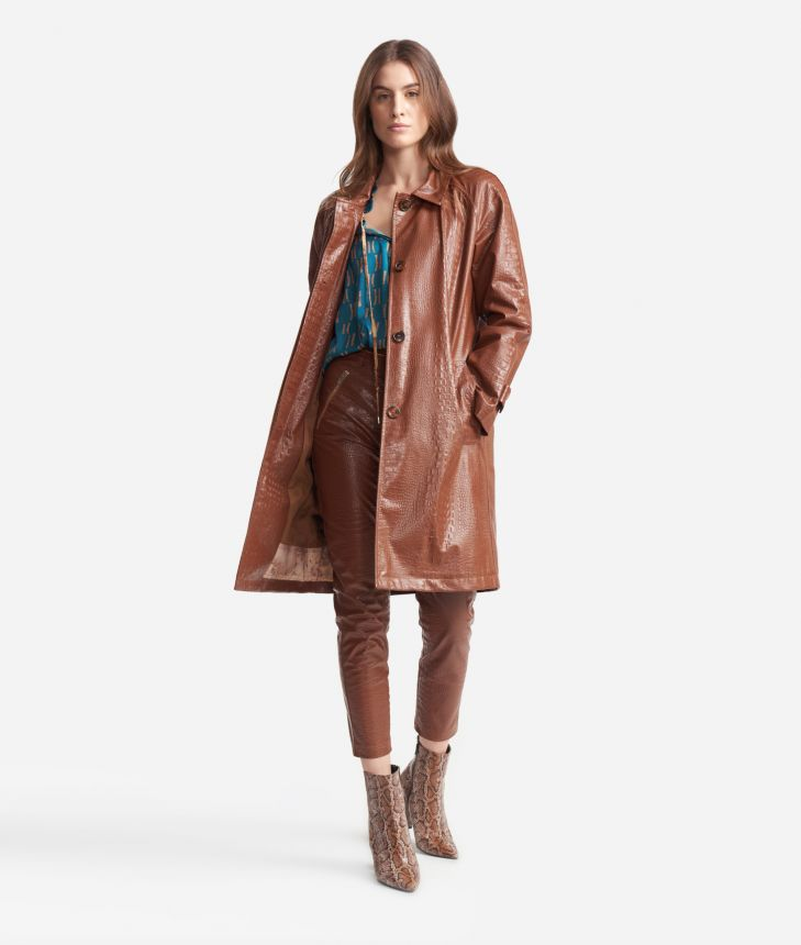 Trench in ecopelle stampa cocco Marrone,front