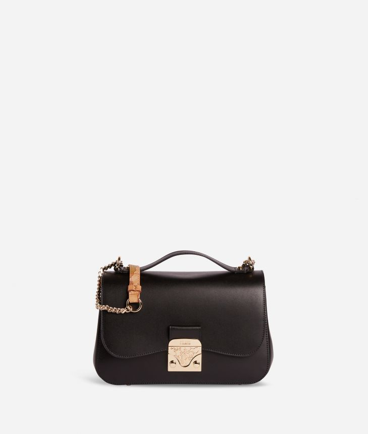 Joy Bag Tracolla in pelle liscia Nera,front