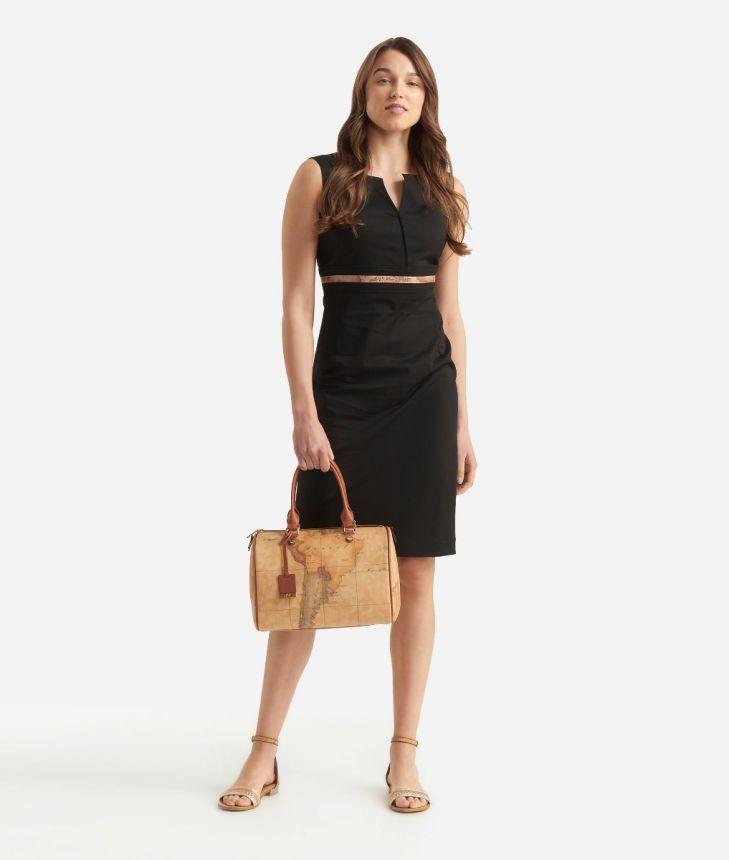 Sheath dress in gabardine cotton Black,front