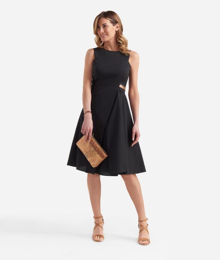 Asymmetric dress in cotton Black,front