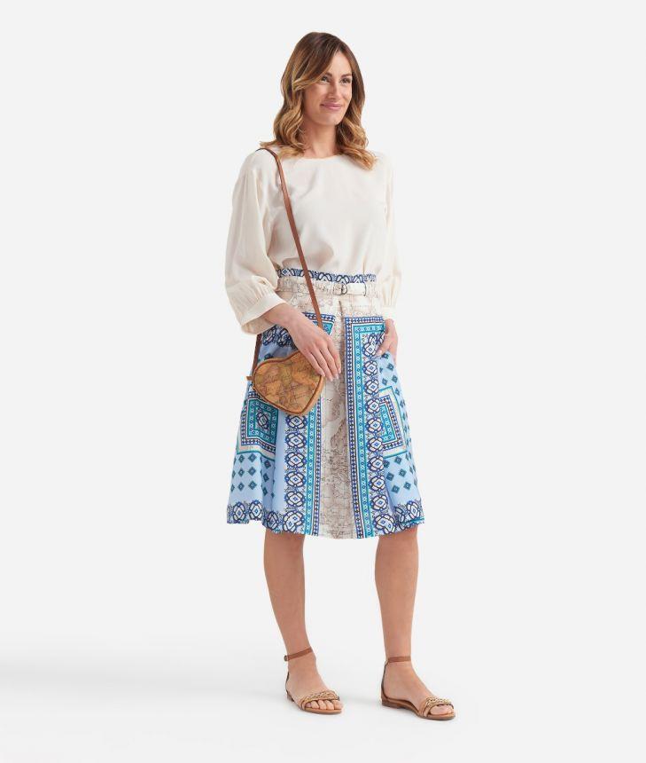 Blusa con manica a 3/4 in crepe de chine Bianca,front