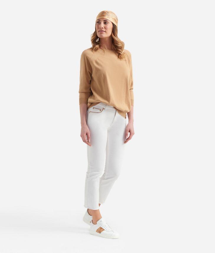 Crewneck sweater in cotton Beige,front
