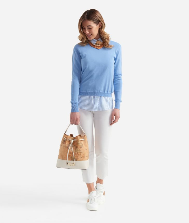 V-neck sweater in viscose crepe Light Blue,front
