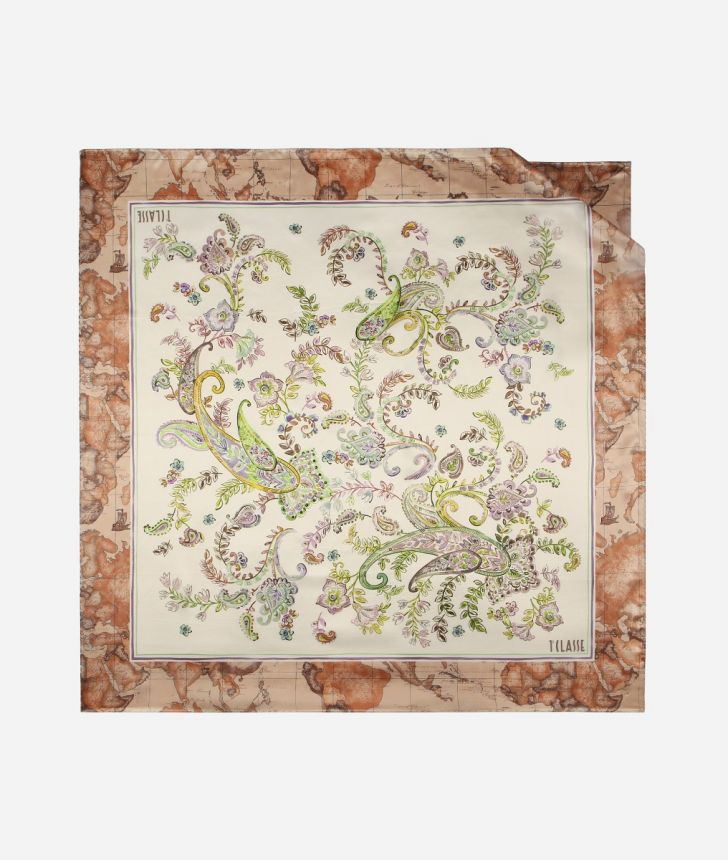 Twill Foulard with Paisely print White,front