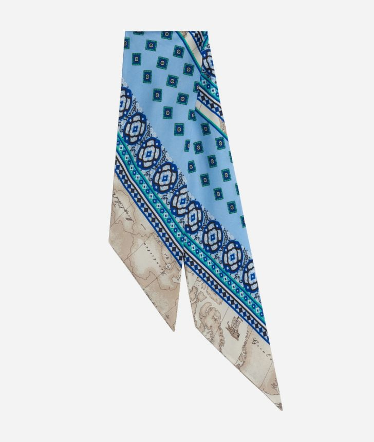 Twill Foulard with Mosaic print Light Blue,front
