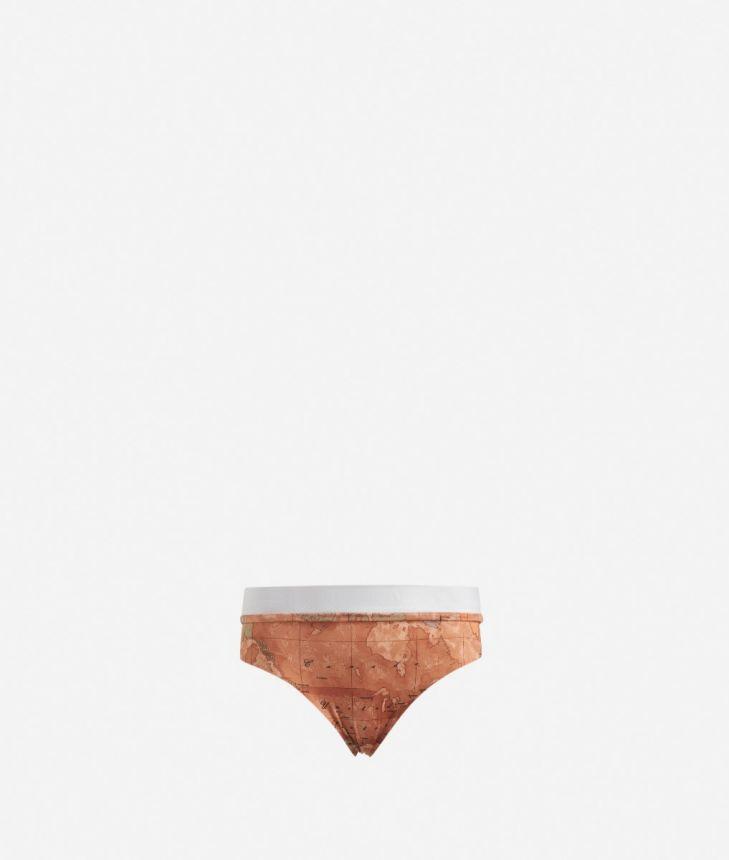 High-waist bikini bottom with Geo Classic print,front