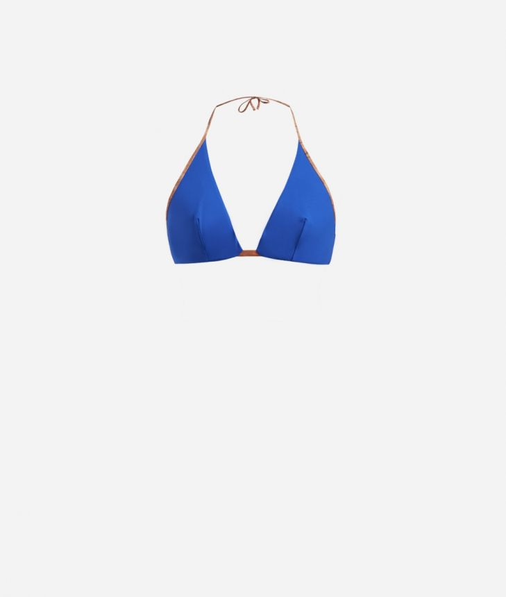 Triangle bra with Geo Classic details Blue,front