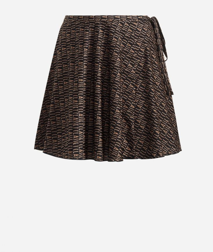 Crêpe fabric skirt with Logomania print Black,front