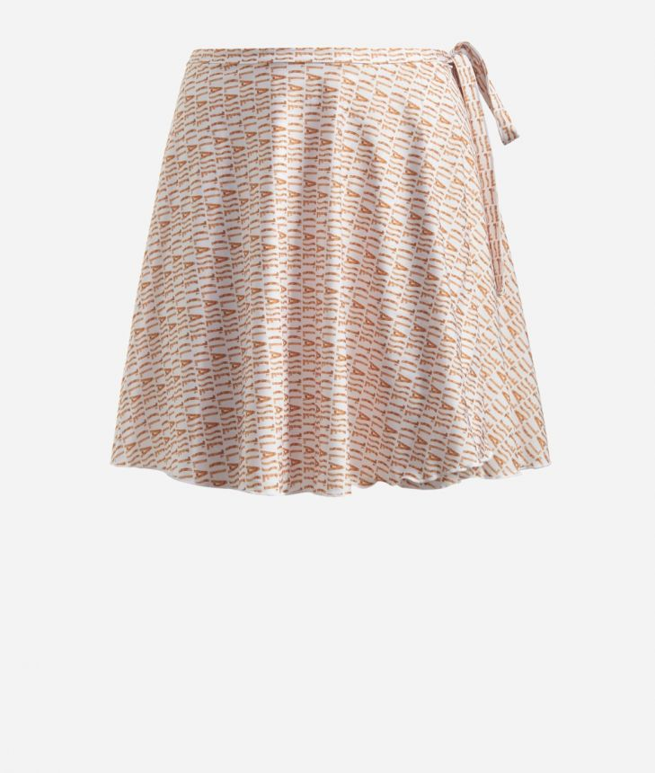 Crêpe fabric skirt with Logomania print White,front