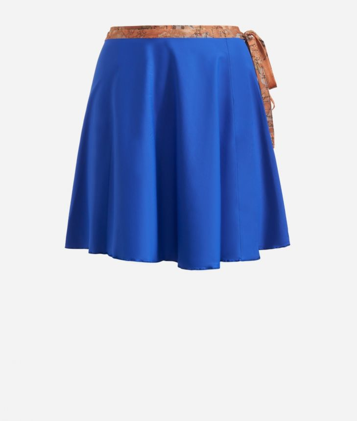 Crêpe fabric skirt wirh Geo Classic details Blue,front