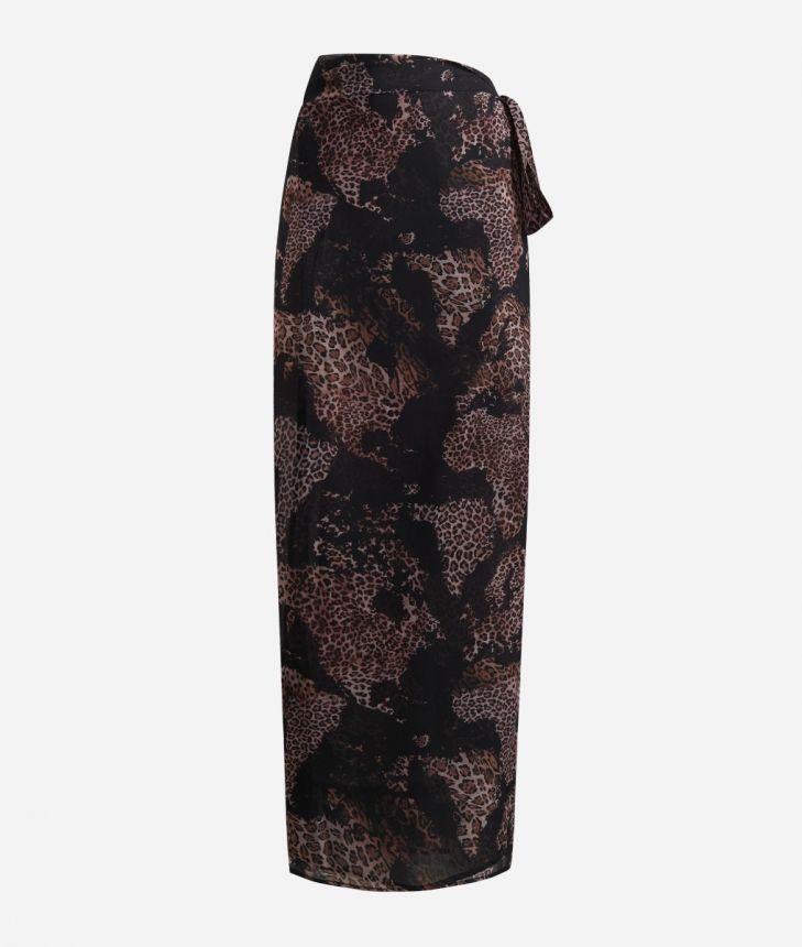 Sarong skirt with Geo Animalier print Black,front