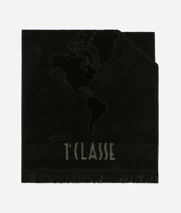 Beach towel with Geo Pieno Lurex print Black,front