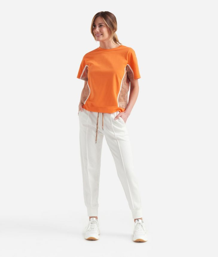 Donnavventura T-shirt with mesh inserts in jersey cotton Orange,front