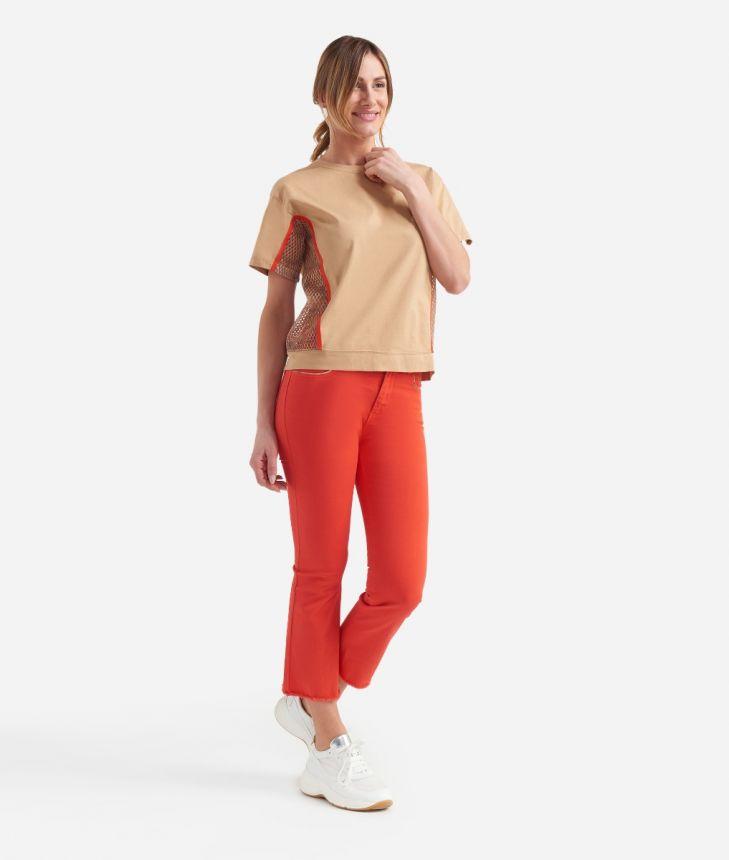 Donnavventura t-shirt con inserti rete in jersey di cotone Beige,front