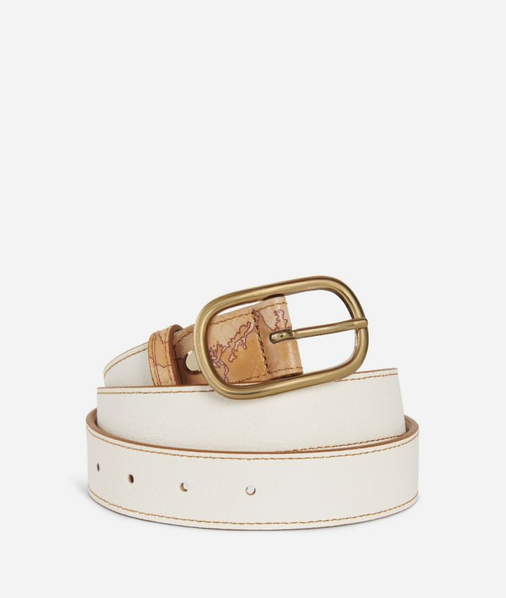Praline Belt in grainy leather White,front