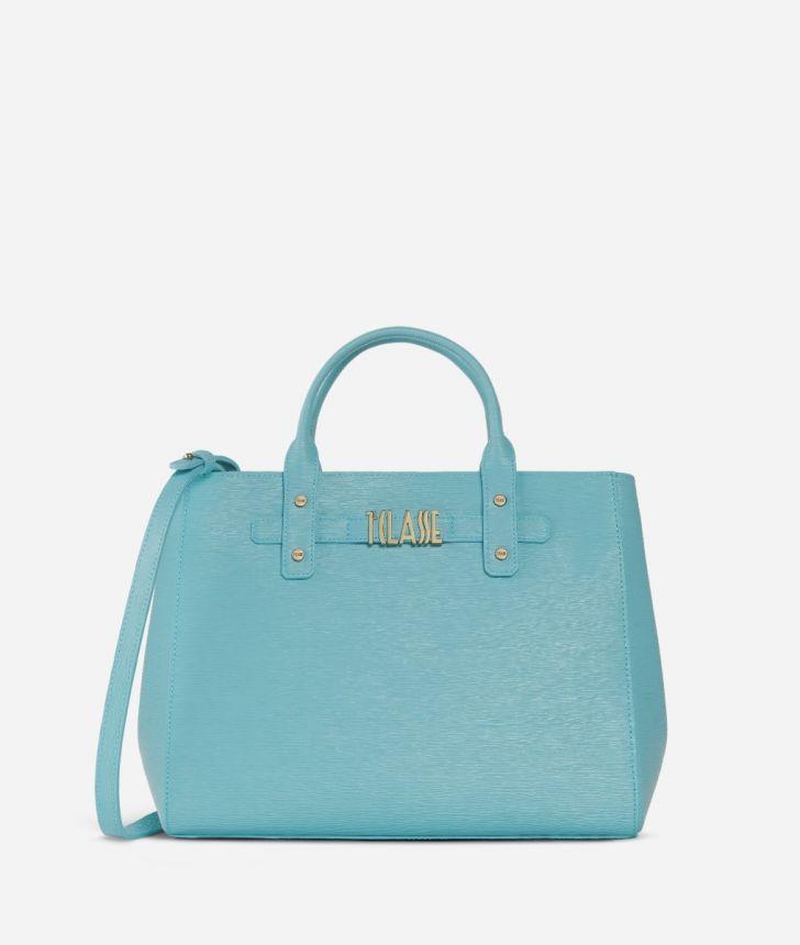 Voyage Smile Medium Handbag Light Blue,front