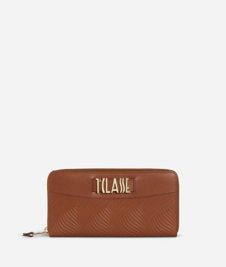 Majorelle Zip-around Wallet in cowhide leather Brown,front