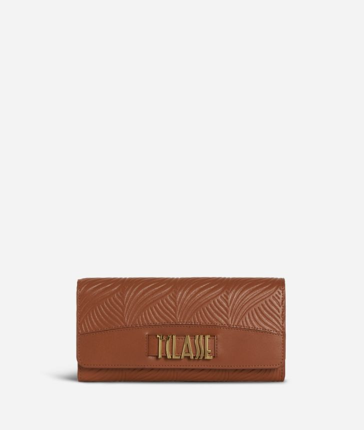 Majorelle Wallet in cowhide leather Brown,front