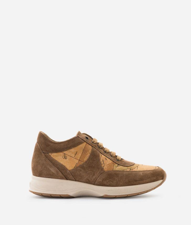 Geo Crossing Sneaker in suede leather Brown,front