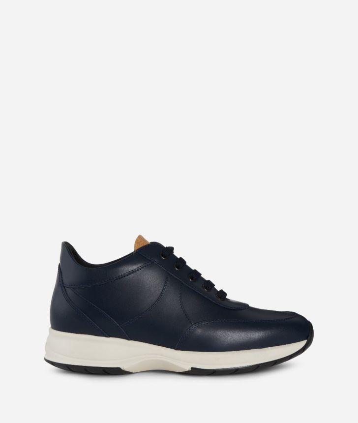 Geo Crossing Sneaker in suede leather Dark Blue,front