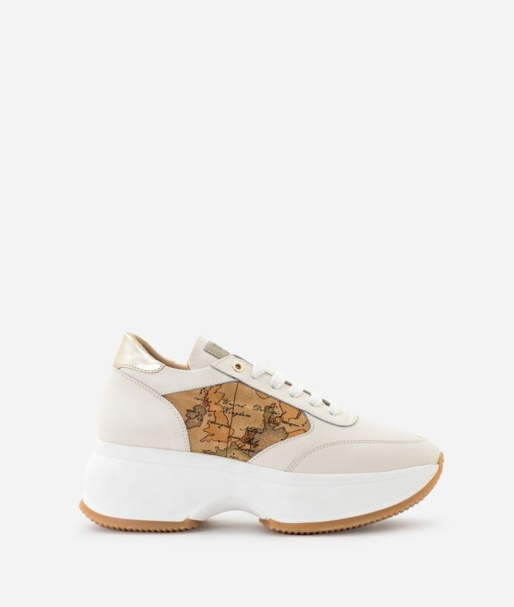 Geo Crossing Sneaker in smooth cowhide leather White,front