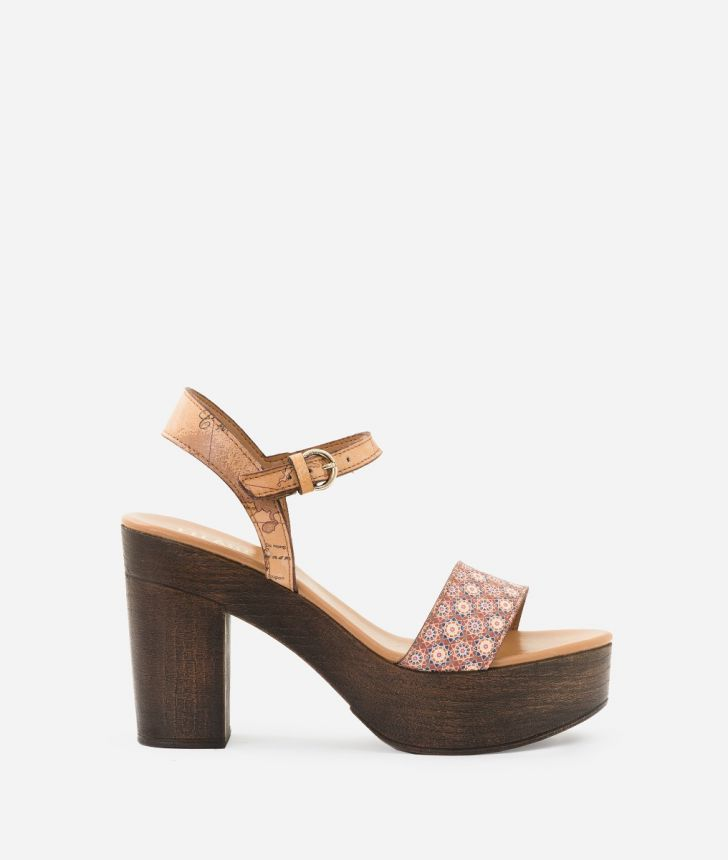 Sandal in Mosaic print fabric Brown,front