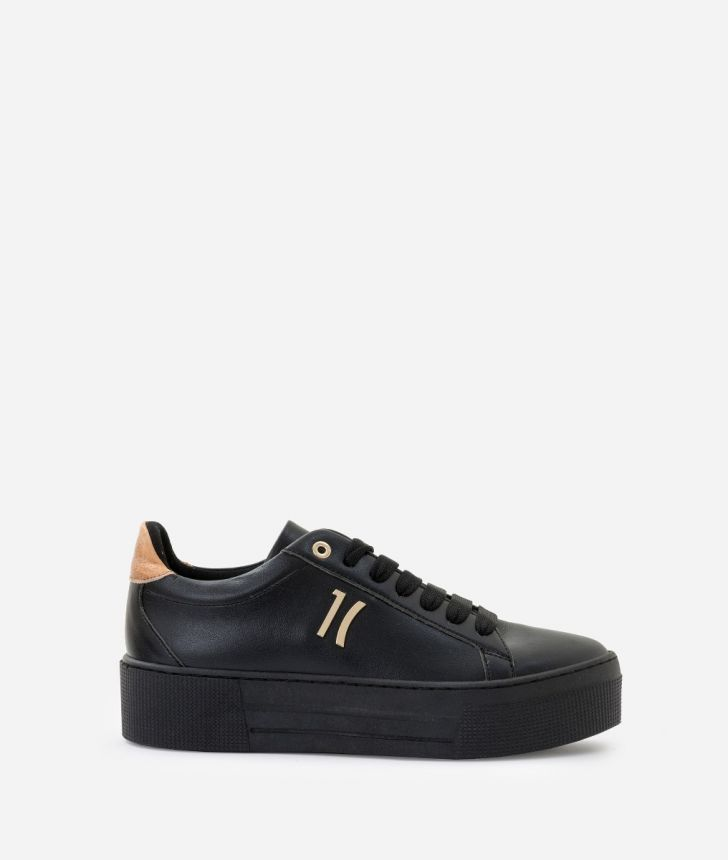Sneaker in eco-leather Black,front