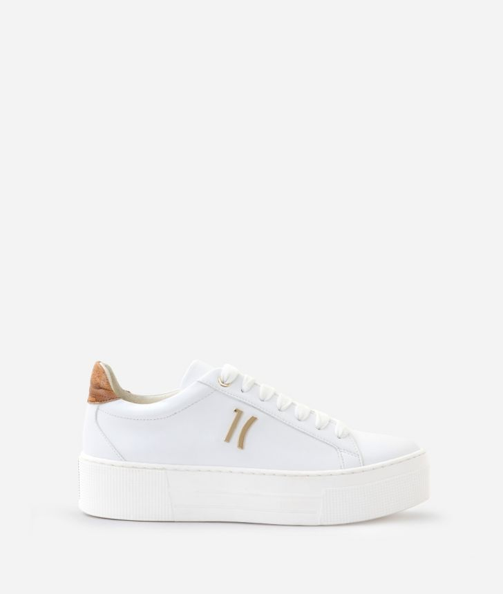 Sneakers in ecopelle Bianche,front