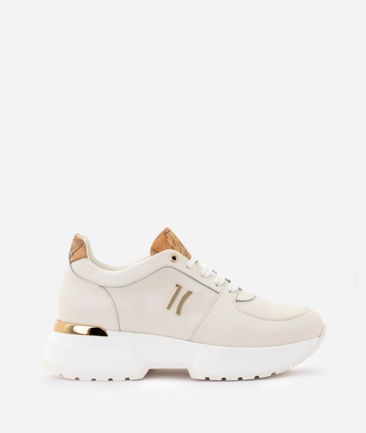 Sneaker 1C in smooth cowhide leather White,front