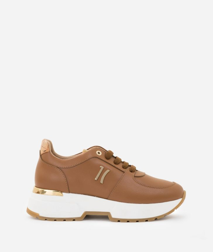 Sneaker 1C in smooth cowhide leather Brown,front