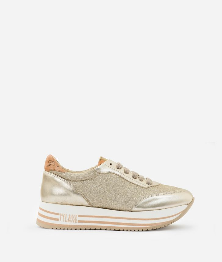 Sneaker in glittered fabric Gold,front