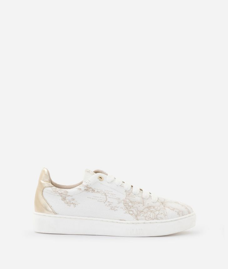 Sneaker in Geo White print fabric,front