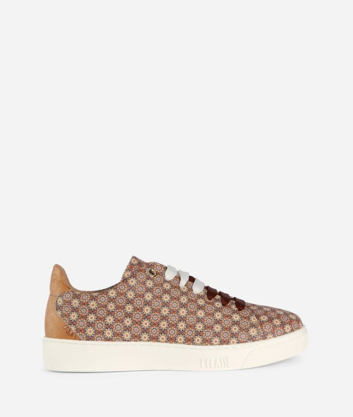 Sneaker with Mosaic print Brown,front