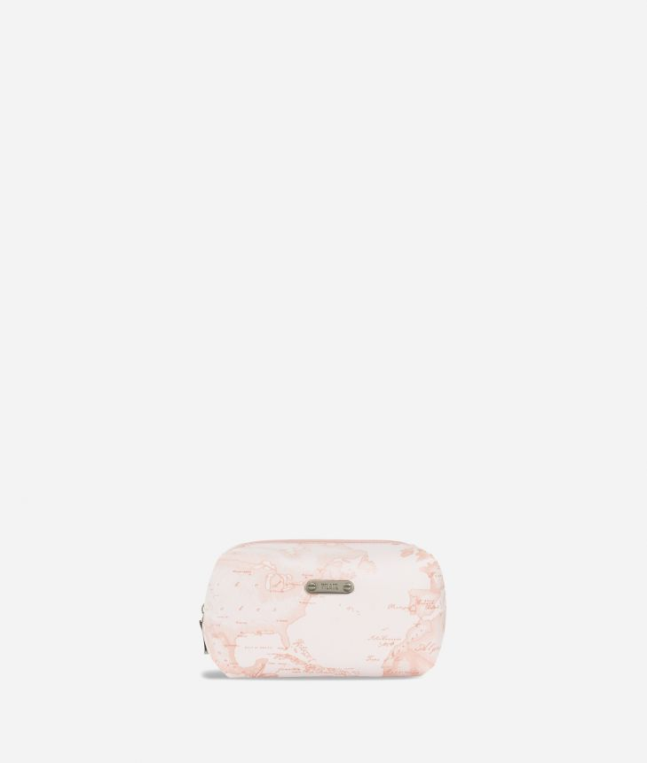 Medium beauty case in pink Geo fabric,front