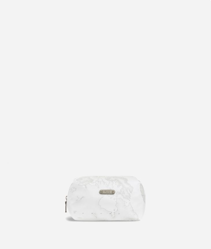 Medium beauty case in white Geo fabric,front