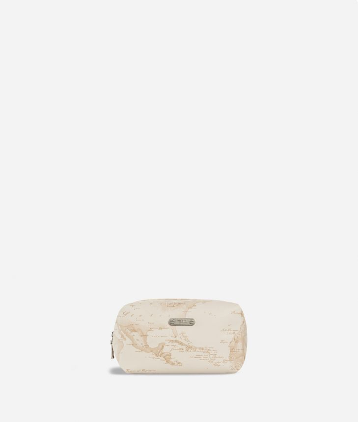 Medium beauty case in beige Geo fabric,front