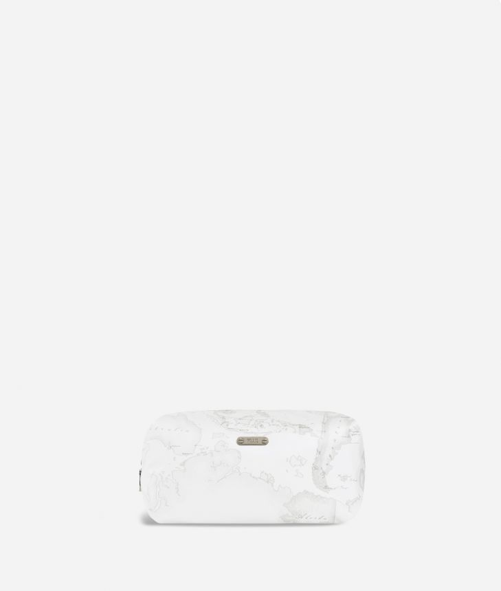 Large beauty case in white Geo fabric,front
