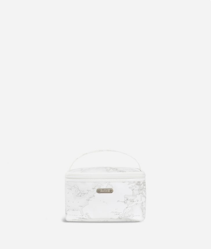 Small beauty case in white Geo fabric,front