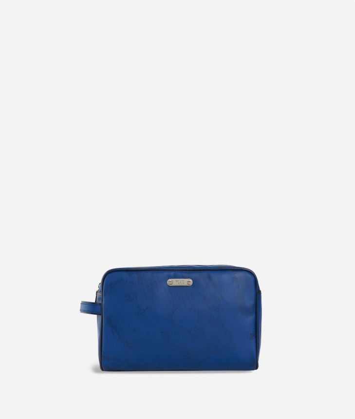 Beauty case in blue Geo fabric,front
