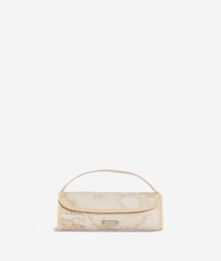 Travel wash bag in beige Geo fabric,front