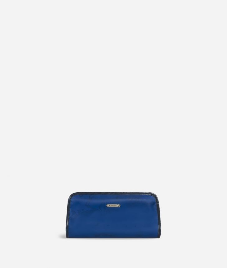 Beauty case with velcro strap in blue Geo fabric,front