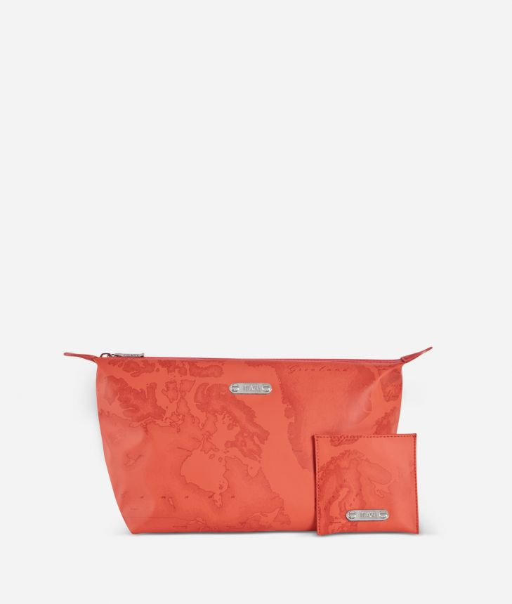 Make-up bag and pouch set in lobster-orange Geo fabric,front