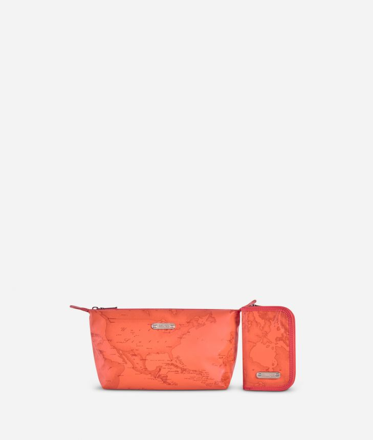 Make-up bag and manicure set in lobster-orange Geo fabric,front