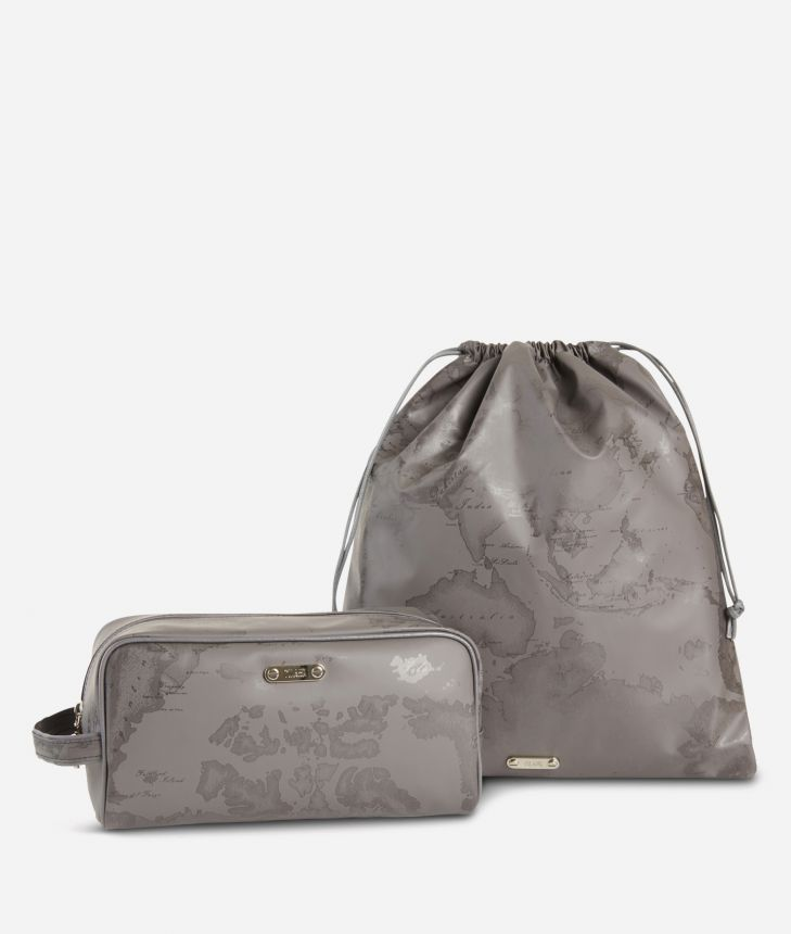 Beauty case and sack set in asphalt-grey Geo fabric,front
