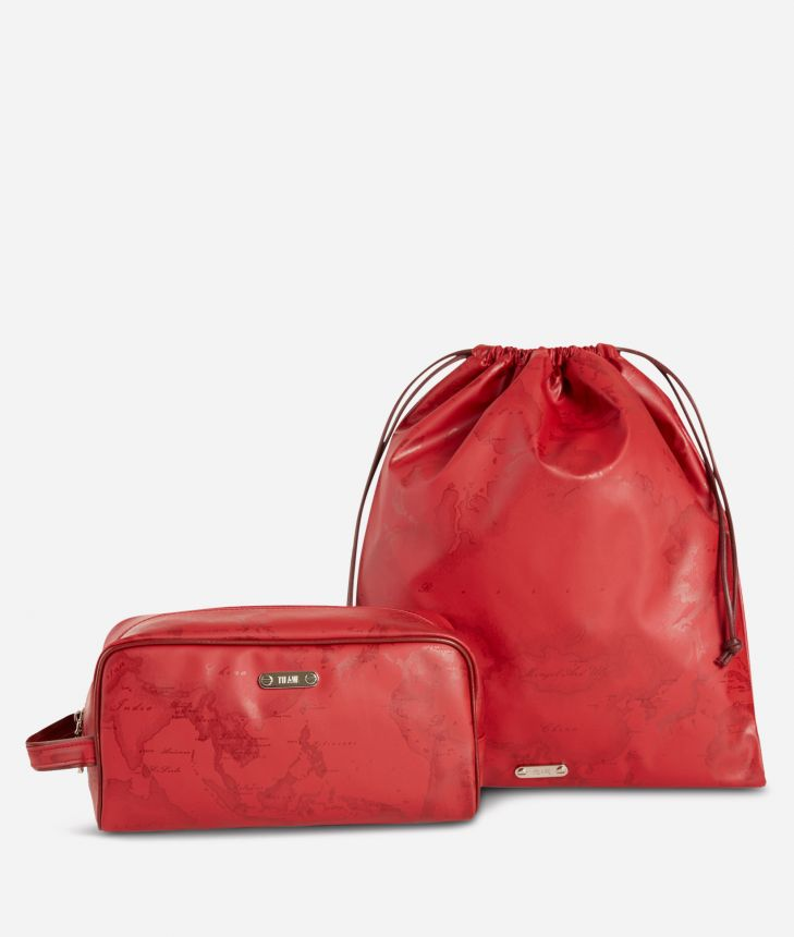 Beauty case and sack set in ruby-red Geo fabric,front