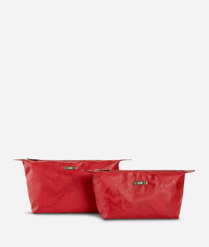 Medium-small make-up bag set in red Geo fabric,front