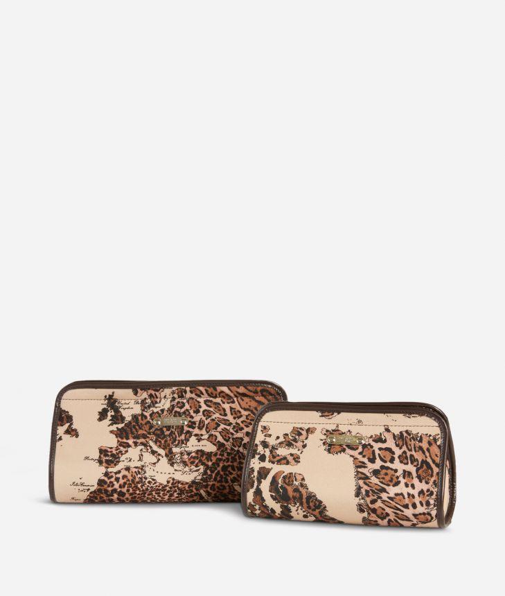 Medium-small make-up bag set in animalier Geo fabric,front