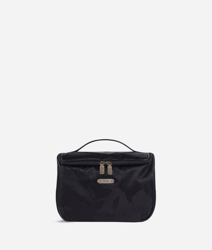 Large beauty case in black Geo fabric,front