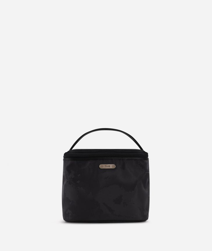 Boston-bag beauty case in black Geo fabric,front