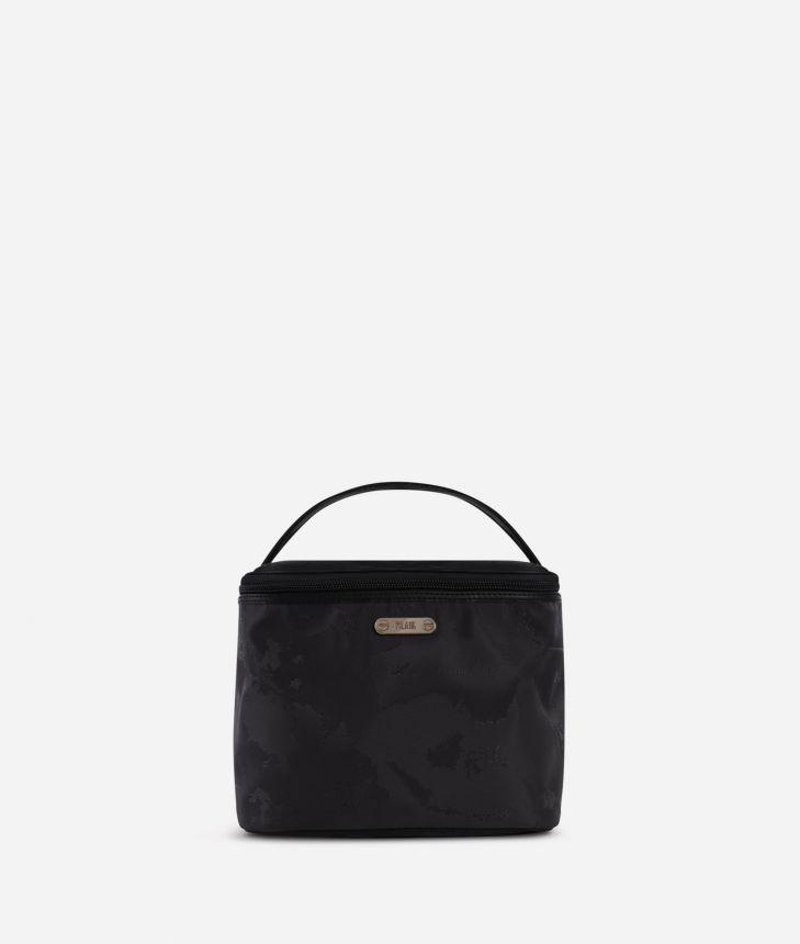 Boston-bag beauty case in black Geo fabric,front